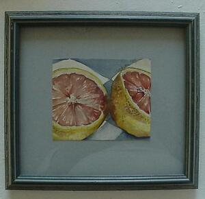 Original Signed Topham Framed Watercolor Halved Grapefruit