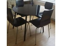 Set of dining table with 4 chairs