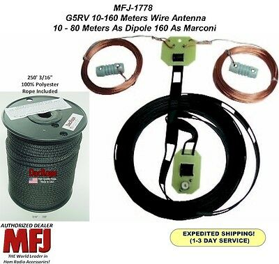 MFJ 1778 G5RV Wire Antenna, All Bands From 160 TO 10 Meters With 250' 3/16 Rope for sale  Summitville