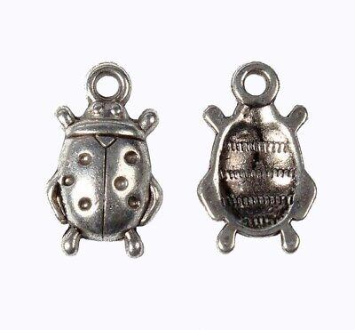 10 Marienkäfer Anhänger Charms Silber Metallanhänger BETTELARMBAND KETTE  M87