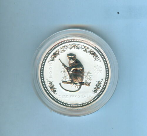 2004 MONKEY AUSTRALIAN TWO DOLLARS 2 Oz. .999 SILVER - 1 COIN TOTAL