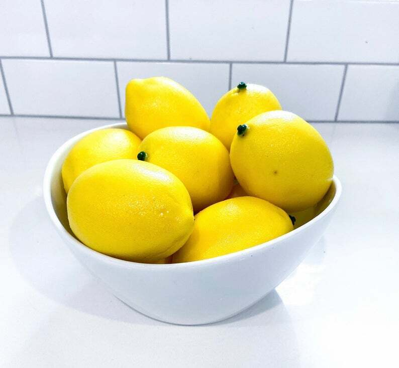 10 Fake artificial lemons lemon decor kitchen faux fake fruit lemons decoration Decorative Fruit & Vegetables