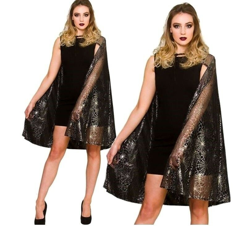 NEW Shimmering Spider Web w//Cape Ladies Halloween Wicked Fancy Dress Accessory