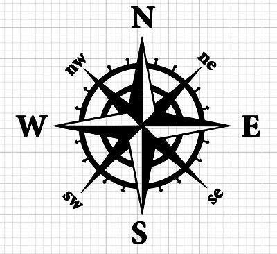 Nautical Compass Decal/Sticker Great for Car/Truck ***AVAILABLE 20 COLORS***