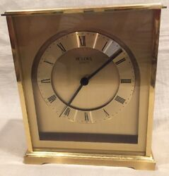Vintage Bulova Brushed Brass Quartz Desk/Mantle Clock, Very Good Condition