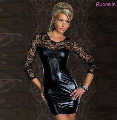 Plus Size Sexy Women Long sleeve Leather Lace Bodycon Mini Dress Party Clubwear