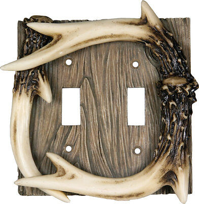 Faux Deer Antler Double Light Switch Plate Cover Western Rustic Lodge Cabin  Antler Double Switch Cover