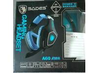 Sades A60 7.1 surround sound headset for pc with RGB lighting