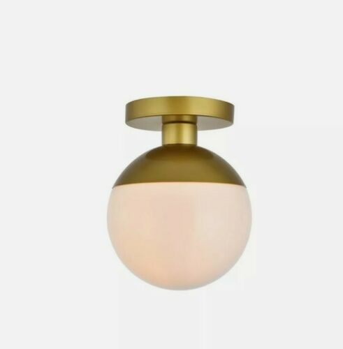 Living District Eclipse 1 Light Flush Mount, Brass/Frosted W
