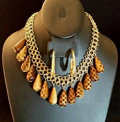 Animal Print Bib Fringe Necklace Gold Plated Giraffe Acrylic Drop+ Hoop Earrings](Animal Print Plates)