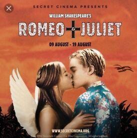 1 x VIP ticket to Romeo & Juliet Sat 11th Aug