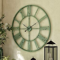 30-inch Large Round Metal Wall Clock Open Design Rustic Industrial Style Green