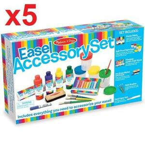 5 NEW EASEL ACCESSORY SET 4145 212425297 MELISSA  DOUG PAINT CUPS BRUSHES CHALK PAPER DRY ERASE MARKER