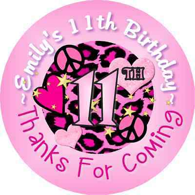 PINK LEOPARD PRINT BIRTHDAY PARTY STICKERS FAVOR LABELS FAVORS  VARIOUS SIZES
