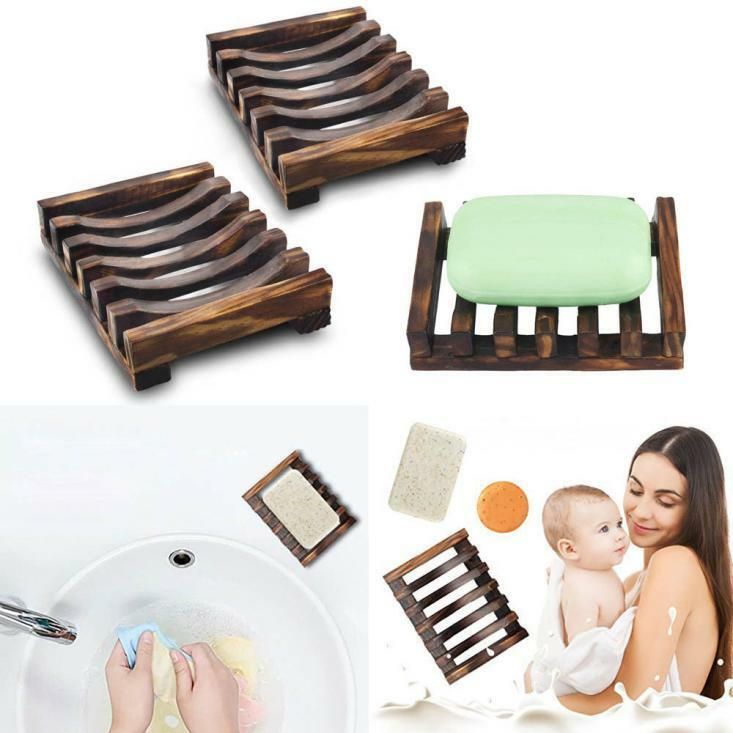 2pcs Bathroom Wooden Soap Case Holder Sink Deck Bathtub Shower Dish Soap Hot A