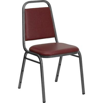 Vinyl Stacking Chair - HERCULES Series Trapezoidal Back Stacking Banquet Chair in Burgundy Vinyl -...
