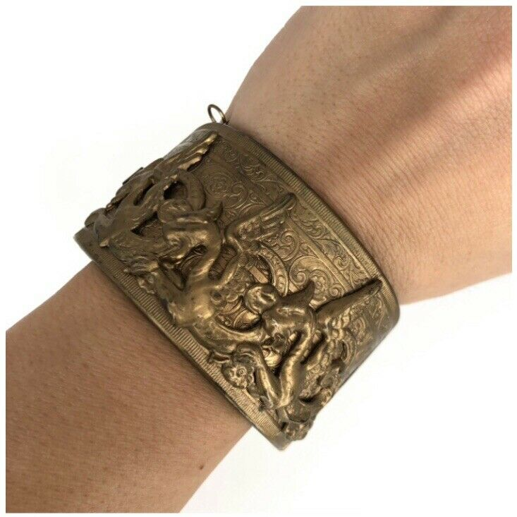 Antique Victorian Pinchbeck Bracelet Chinese Dragon Repousse Hinged Bangle Cuff