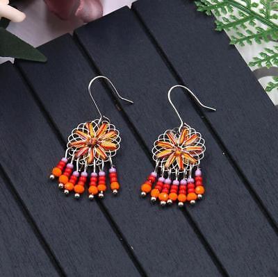 Fashion simple hand-woven earrings Flower Beaded tassel pendant Women Earrings