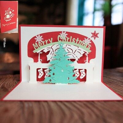 3D Pop Up Card Merry Christmas Tree Holiday Greeting Creative New Hot Cards ()