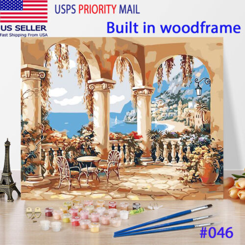 Wooden Framed  DIY Oil Painting Paint by Number Kit for Adults Ocean View