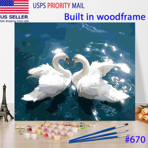 Wooden Framed  DIY Oil Painting Paint by Number Kit for Adults kid Swans white