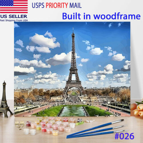 Wooden Framed  DIY Oil Painting Paint by Number Kit for Adults Eifflel tower