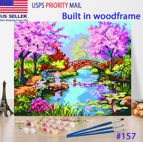 Wooden Framed  DIY Oil Painting Paint by Number Kit for Adults kid Cherry garden