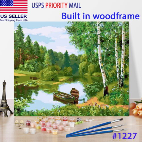 Wooden Framed  DIY Oil Painting Paint by Number Kit for Adults kid Green Lake