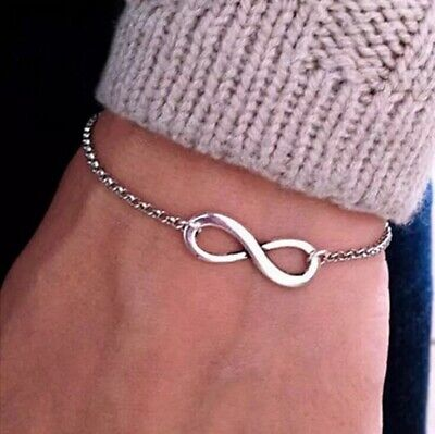 Womens Silver or Gold Plated Love Infinity Adjustable Bracelet B10 Girlfriend Bracelets