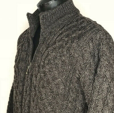 Orvis Mens 1/4 Zip Sweater 100% Wool Aran Made in Ireland Fisherman Brown Gray