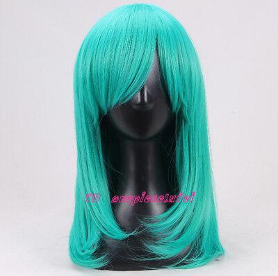 Teal green medium long Cosplay Wig +a wig cap  - Teal Wig