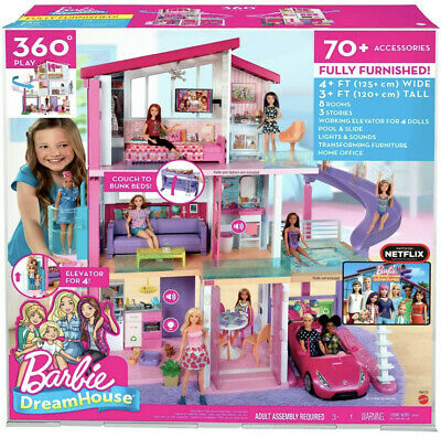 Girl's Dollhouse Barbie Dreamhouse Playset With Accessories Toy Furniture New