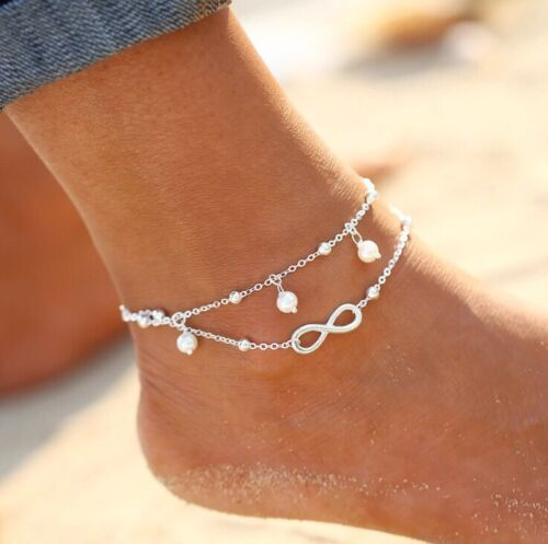 Infinity Fußkettchen Fusskette Liebe ❤️ Schmuck Armband Fußschmuck Silber P127a
