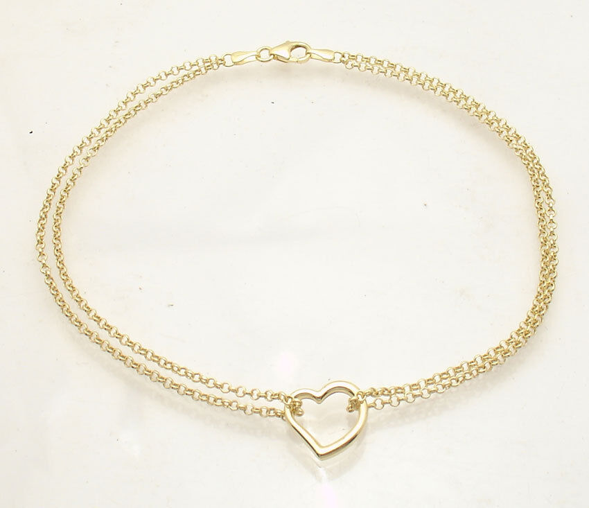 Open Heart Anklet Ankle Bracelet With Double Rolo Chain R...