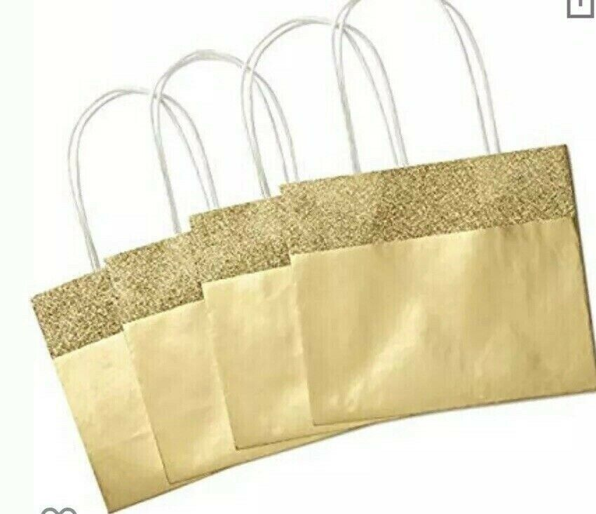 """Pack of 6 - NEW Hallmark 5"""" Small Christmas Gift Bags, Gold"""