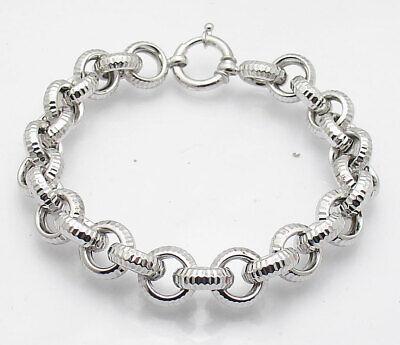 """8"""" Technibond Diamond Cut Sparkle Rolo Link Bracelet Platinum Clad 925 Silver"""