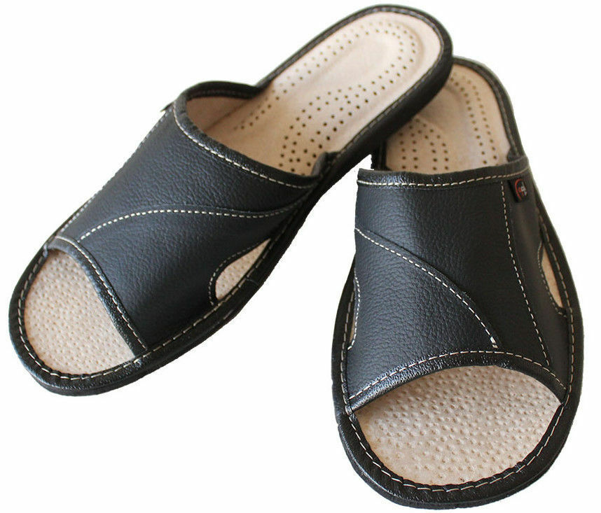 Mens Leather Slippers House Shoe Scuffs Slip On Mule Black US Size 7-13 Moccasin