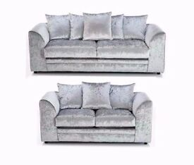"Brand new 3+2 Seater ""Dylan Crushed Velvet sofa in ""Silver"" , ""Black"" Color!! ""Express Delivery"""
