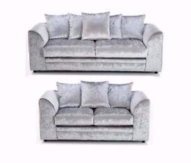 AMAZING OFFER !! SOFA ON SALE = NEW DOUBLE PADDED = DYLAN CRUSHED VELVET CORNER SOFA OR 3 AND 2 SOFA