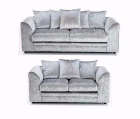 ★★ GUARANTEED CHEAPEST PRICE ★★ DYLAN CRUSH VELVET CORNER / 3+2 SOFA SET -AVAILABLE SILVER AND BLACK