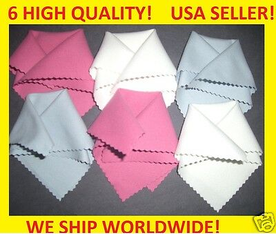 6pc RED WHITE BLUE MICROFIBER CLEANING CLOTH to: Ipad IPOD Tablet Screen glasses