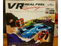 virtually reality headset and steering wheel