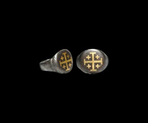0248.Medieval Crusader Silver Ring with Jerusalem Cross. 11th-13th century AD