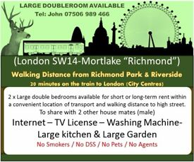 2 x Large double bedrooms available for short or long-term rent in Sheen-Richmond