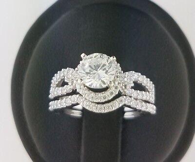Band Bridal Set (1.5 CT Round Cut Diamond Bridal Engagement Ring Set Wedding Band 14K White Gold )