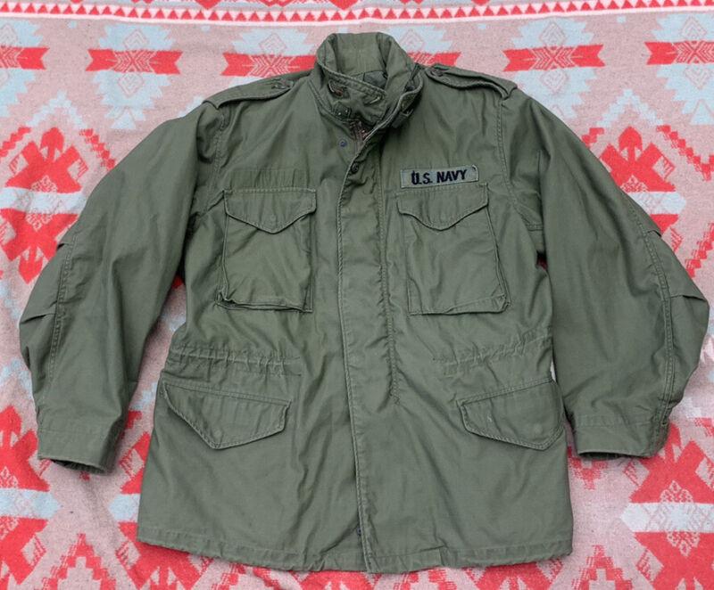 Vintage 1974 Vietnam Era M65 M-65 Alpha Industries Field Jacket Sz Large Reg