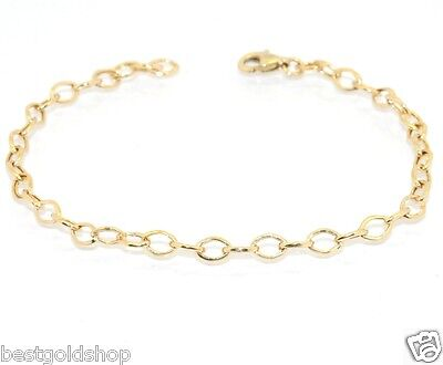 (Technibond 4mm Light Oval Link Charm Bracelet 14K Yellow Gold Clad Silver 925)