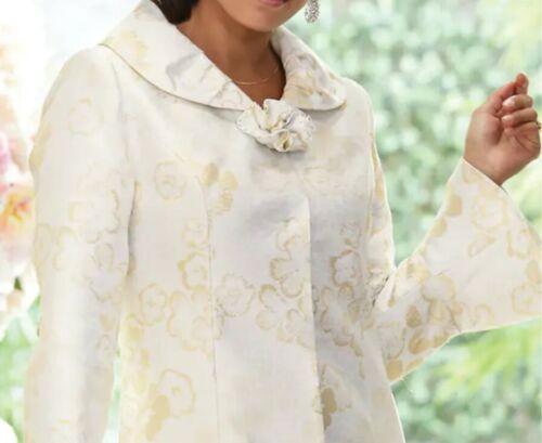 Midnight Velvet Formal Party Church Wedding Shimmer Gold White Jacket Dress 8