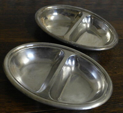 antique 2 x  silver plate oval 2 section  BOWL small walker and hall