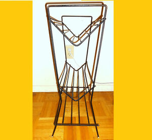 REDUCED / 3-TIERED METAL RACK Vintage 1960s MidCentury Decor Retro Record Stand Magazines / OAKVILLE 905 510-8720 vjk